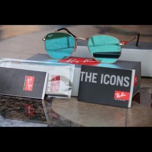 Ray Ban Turquoise Mirrored Hexagonal Sunglasses